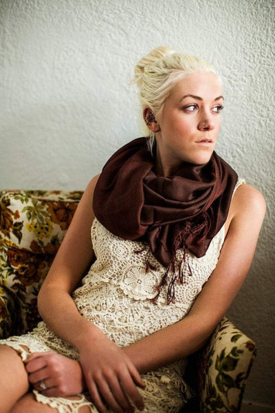 Scarves Default Water Pashmina Shawl in Chocolate Brown fb091