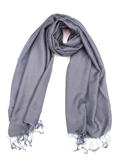 Scarves Default Water Pashmina Shawl in Steel Grey fb090