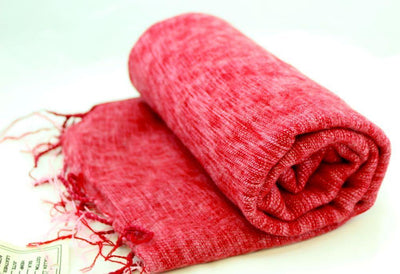 Scarves Default Yak Wool Shawl in Raspberry Red fb095