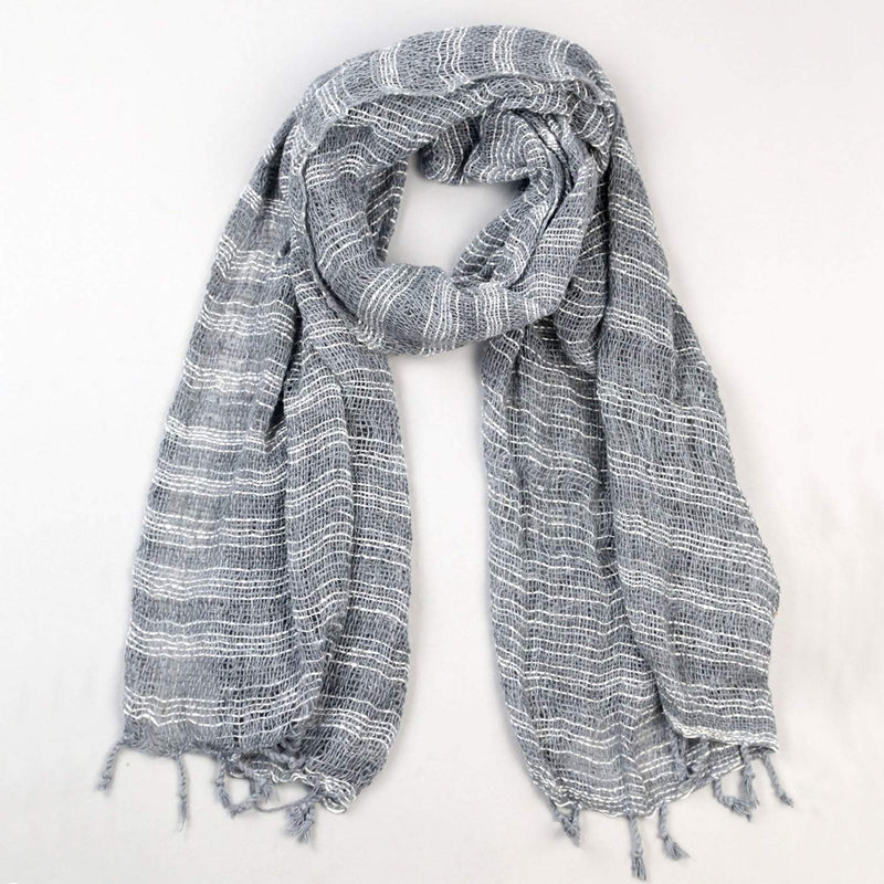 Scarves Gray Striped Cotton Scarf FB536