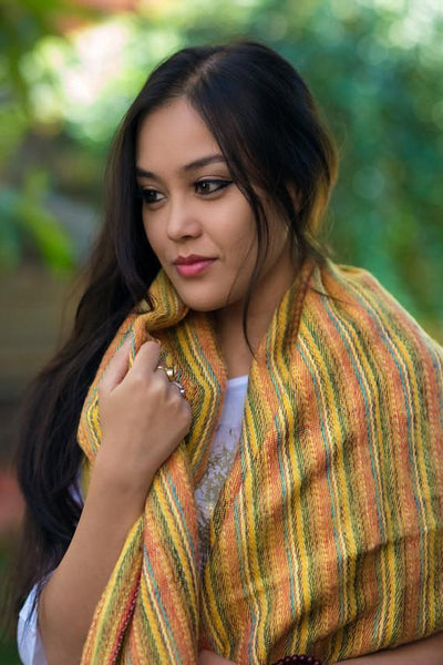 Scarves Hand Woven Yellow Striped Scarf FB518