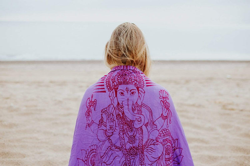 Scarves Purple Ganesh Prayer Scarf/Shawl from Kathmandu FB337