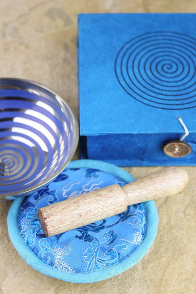 Singing Bowls Blue Spiral Singing Bowl Gift Set GB033