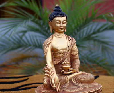 Statues Default Medicine Buddha  Goldplated Statue 8 inch KTM-MST190
