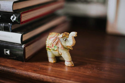Statues Gold Painted Jade Elephant ST240