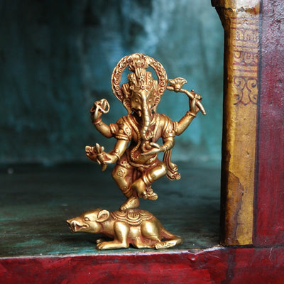 Statues Gold Plated Dancing Ganesh Statue ST201