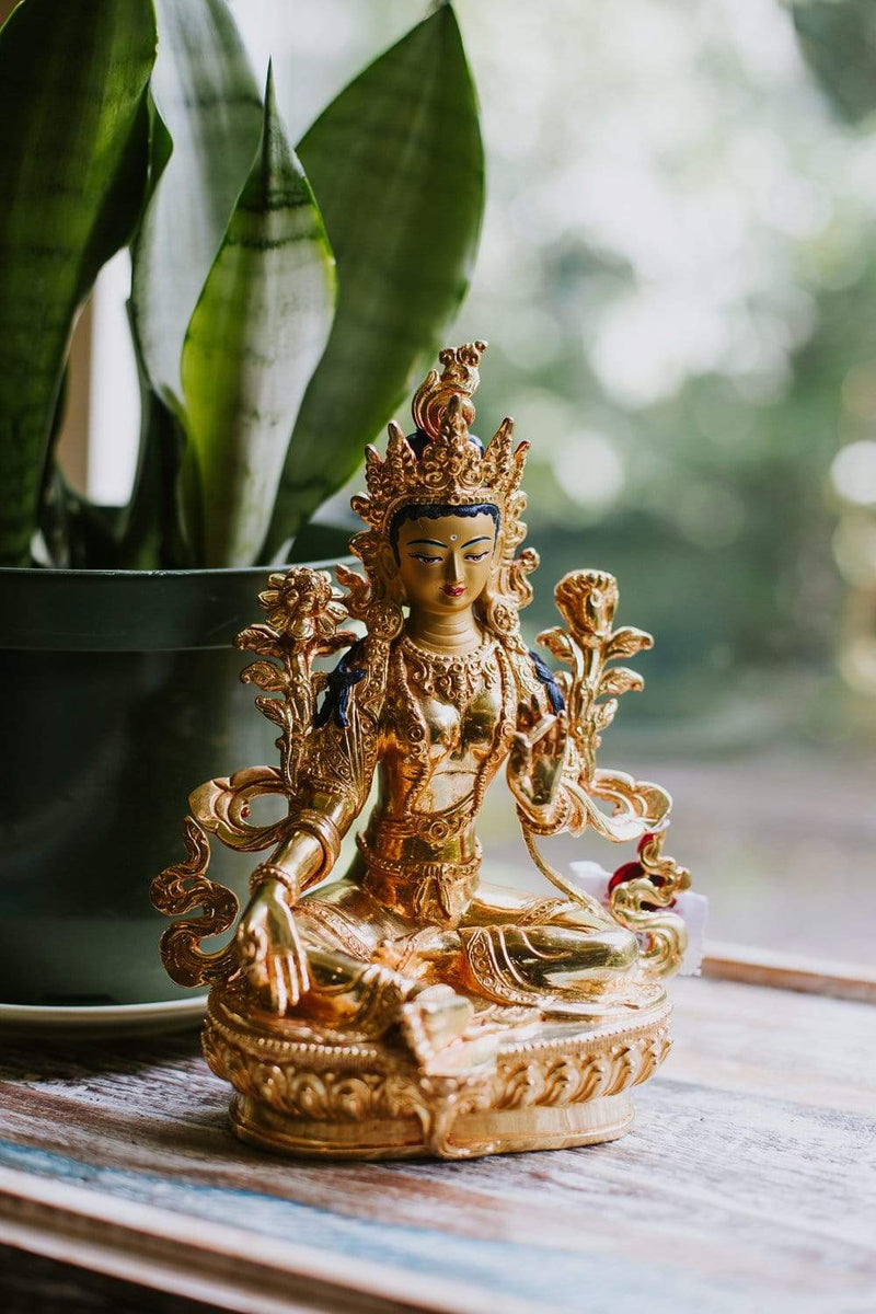 Statues Gold Plated Green Tara Statue ST262