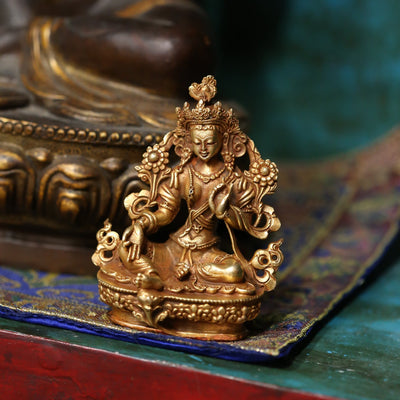 Statues Green Tara Small Golden Statue ST211