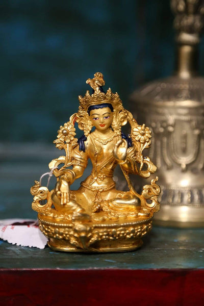 Statues Green Tara Small Golden Statue ST257