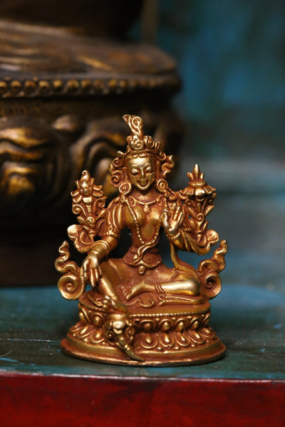 Statues Mini Green Tara Gold Statue ST217