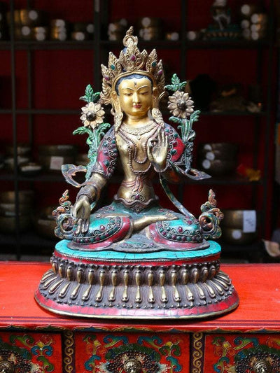 Statues,One of a Kind,New Items,Tibetan Style Default Museum Quality Tibetan White Tara Jeweled Statue st059