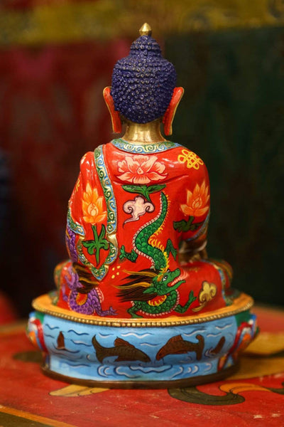 Statues Painted Shakyamuni Statue with Dragons ST247