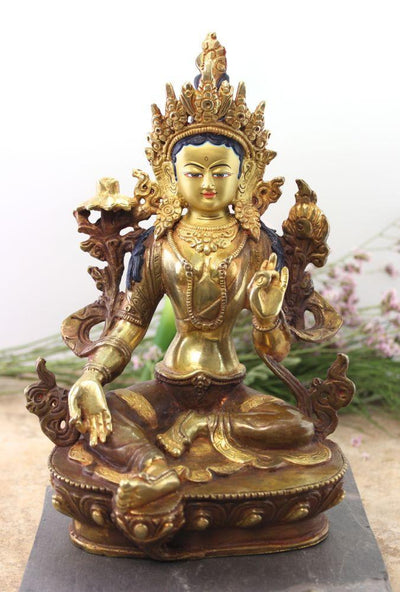 Statues,Tibetan Style Default Green Tara 8 Inch Painted Bronze Statue st020