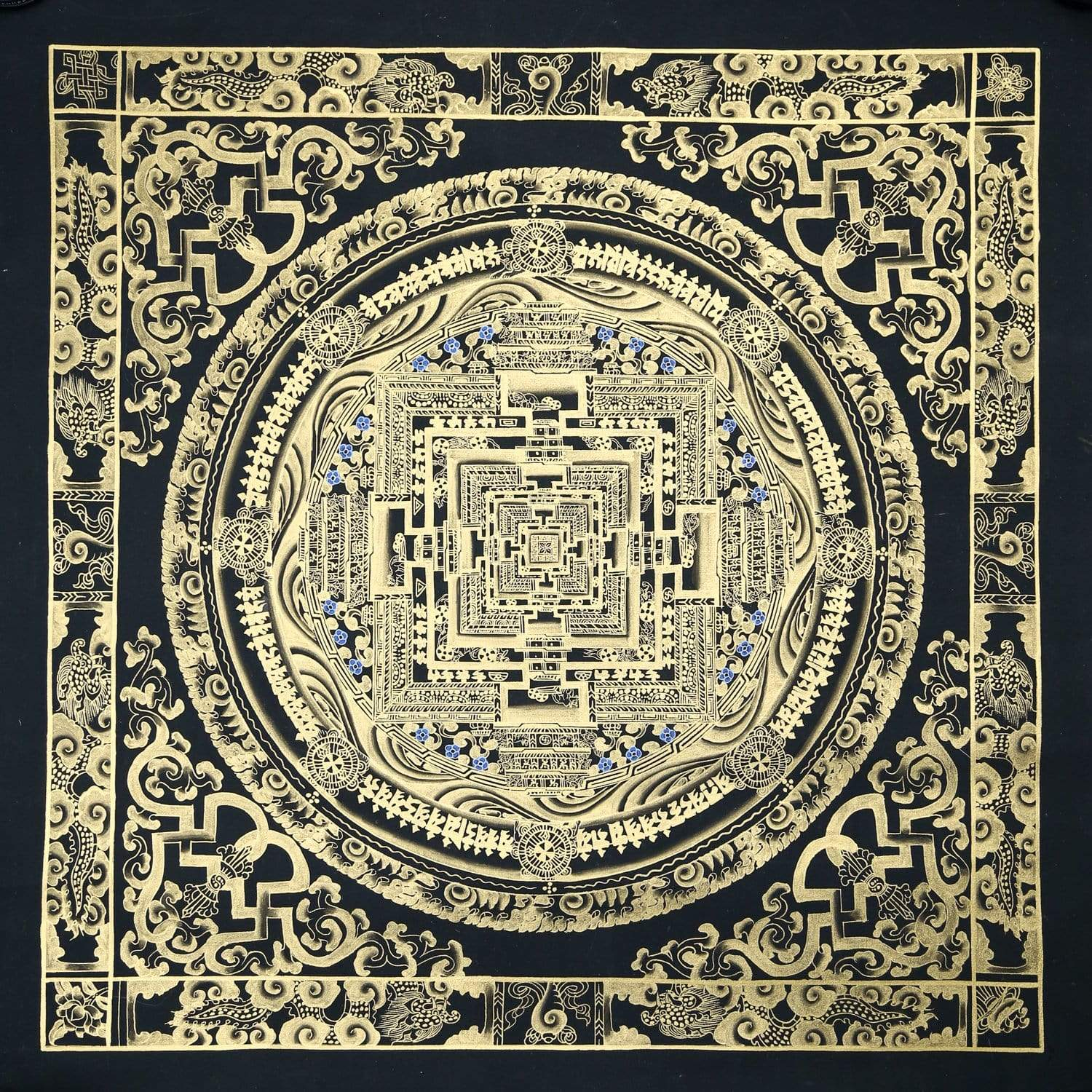 Thangkas Black & Gold Kalachakra Masterpiece Thangka TH161