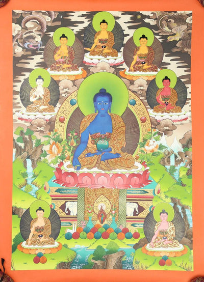 Thangkas Colorful Eight Medicine Buddha Thangka TH132