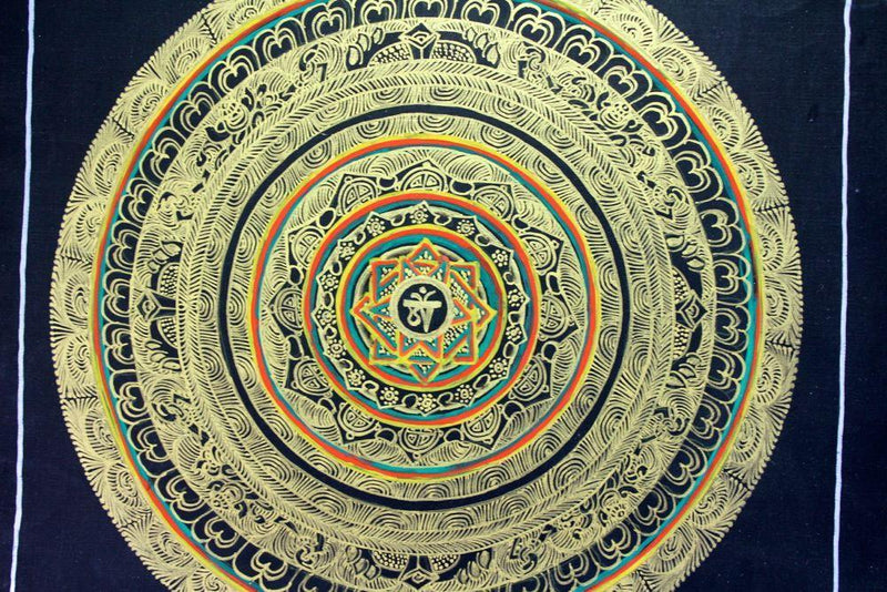 Thangkas Default Om Mandala Painted in Gold Thangka th058