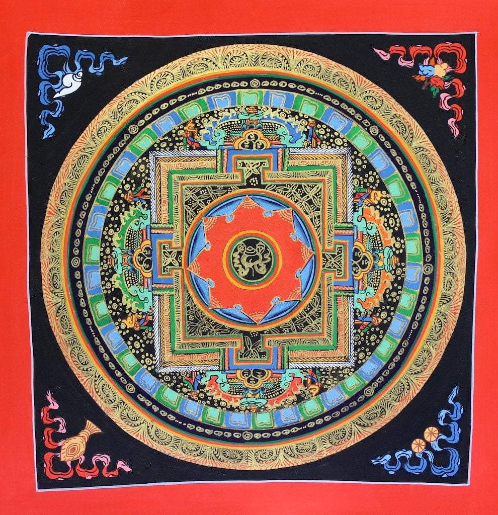 Thangkas Default Painted in Gold Conch Shell Hand Painted Mandala th081