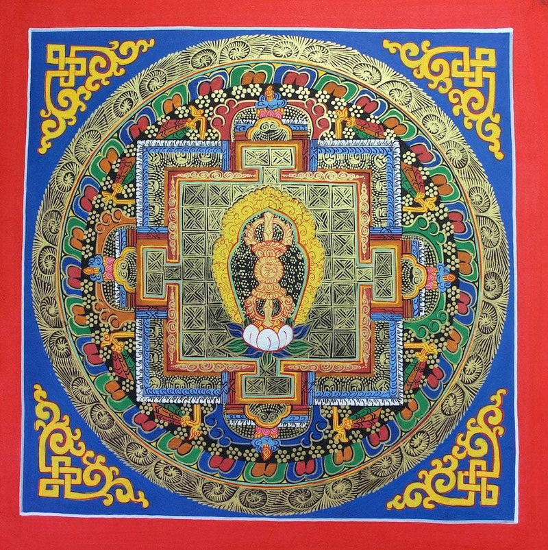 Thangkas Default Painted in Gold Dorje Mandala th078