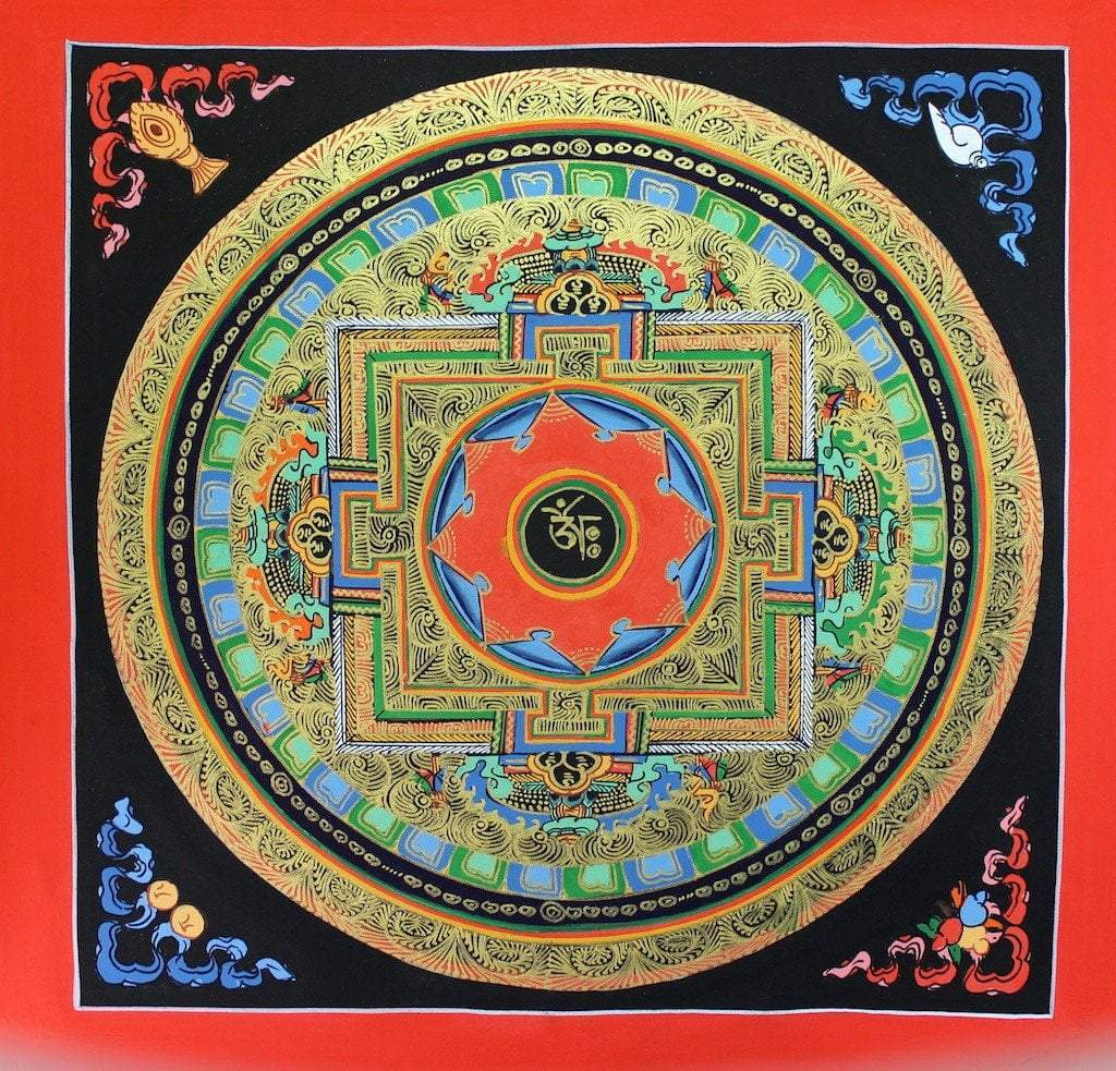 Thangkas Default Painted in Gold OM Hand Painted Mandala th082