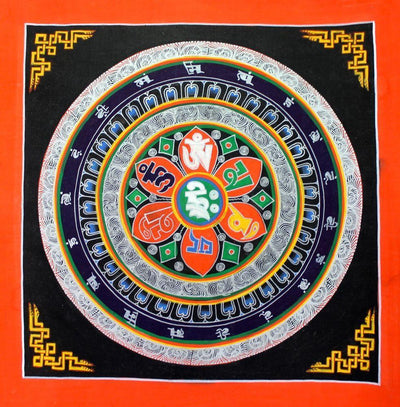 Thangkas Default Tibetan Mandala Thangka Om Mani Design th062