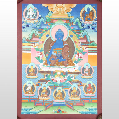 Thangkas Eight Medicine Buddha Tibetan Thangka TH133