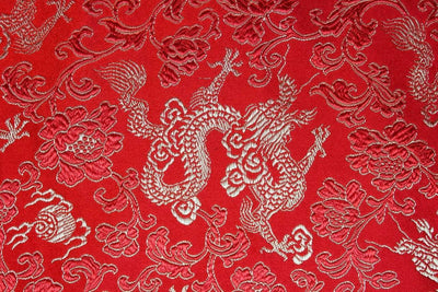 Thangkas,Fabrics Default Red Dragon Fabric By The Yard fy002B