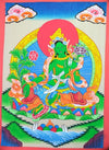 Thangkas,Gifts Default Green Tara Thangka Touched with Gold th071
