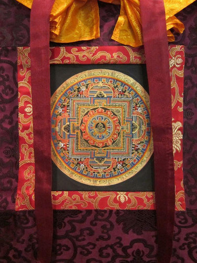 Thangkas,New Items Dark Blue Framed mandala Thangka th040blue