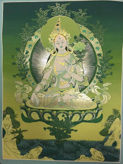 Thangkas,New Items Default Handmade Green tara Tibetan Thangka Painting th043