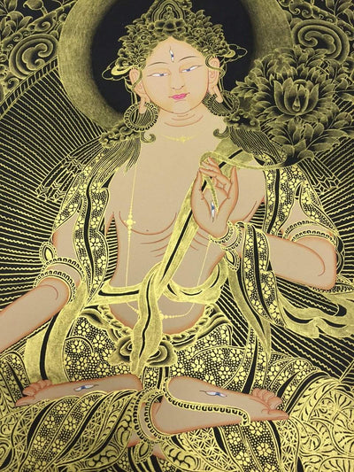 Thangkas,New Items,Deities Default Black Thangka White Tara Newar Style th067