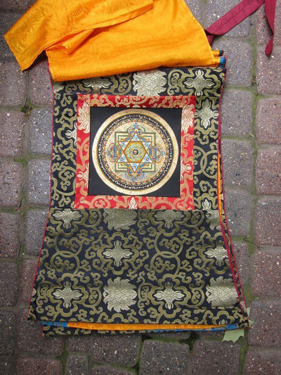 Thangkas,New Items,Om Black Yantra Mandala Thangka th039black