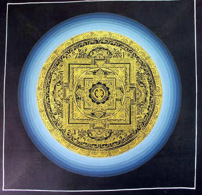 Thangkas,New Items,Tibetan Style Default Cosmic Eternal Knot Painted in Gold Mandala th057