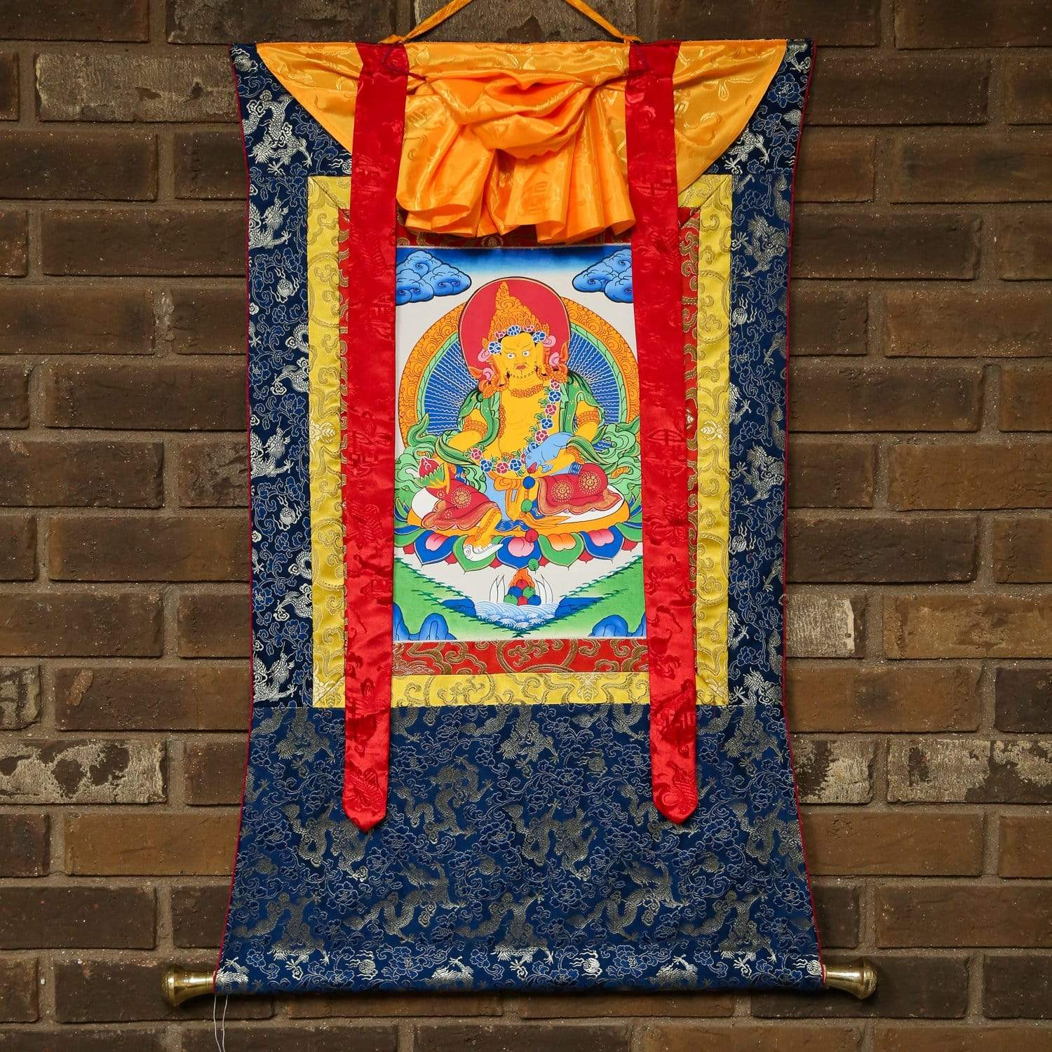 Thangkas Yellow Jambhala Framed Thangka TH160
