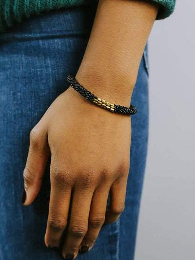The Journey Bracelets Black and Gold Roll-On Bracelet SW01