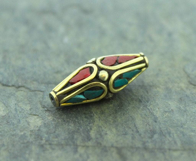 Tibetan Beads Default Brass Coral and Turquoise Bead be054