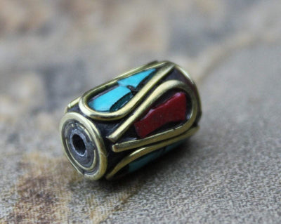 Tibetan Beads Default Brass Coral and Turquoise Tibetan Bead 8mm be065