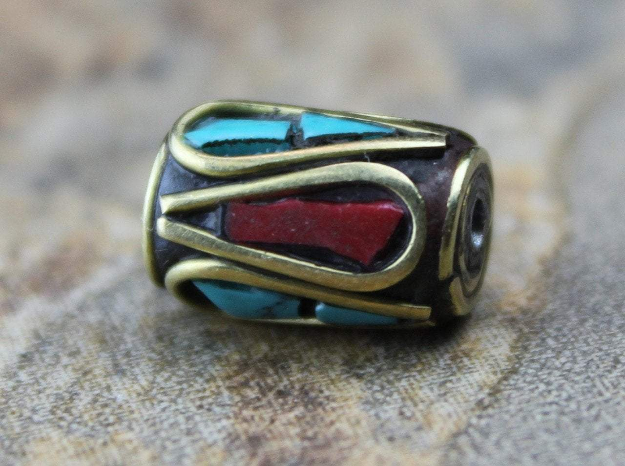 Brass Coral and Turquoise Tibetan Bead 8mm