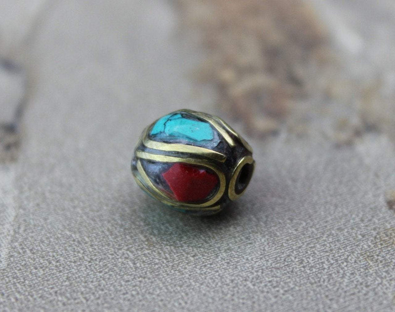 Tibetan Beads Default Brass Coral and Turquoise Tibetan Bead 9mm be067