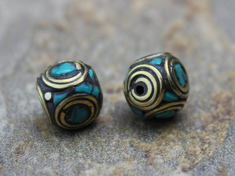 Tibetan Beads Default Round Brass and Turquoise Tibetan Bead 10mm be071