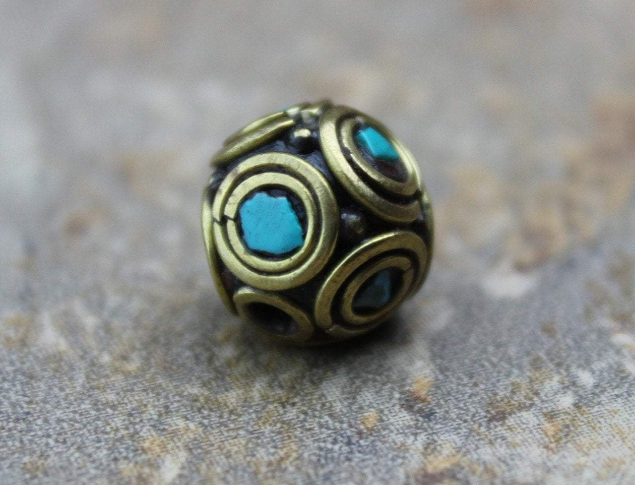 Tibetan Beads Default Round Brass and Turquoise Tibetan Bead 12mm be072