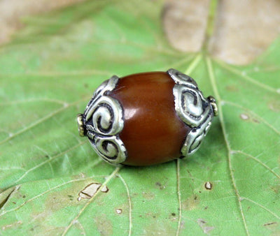 Tibetan Beads,New Items Default New Amber Silver Capped Tibetan Bead be060