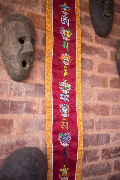 Wall Hanging Auspicious Symbols with Tibetan Mantra Banner FB527