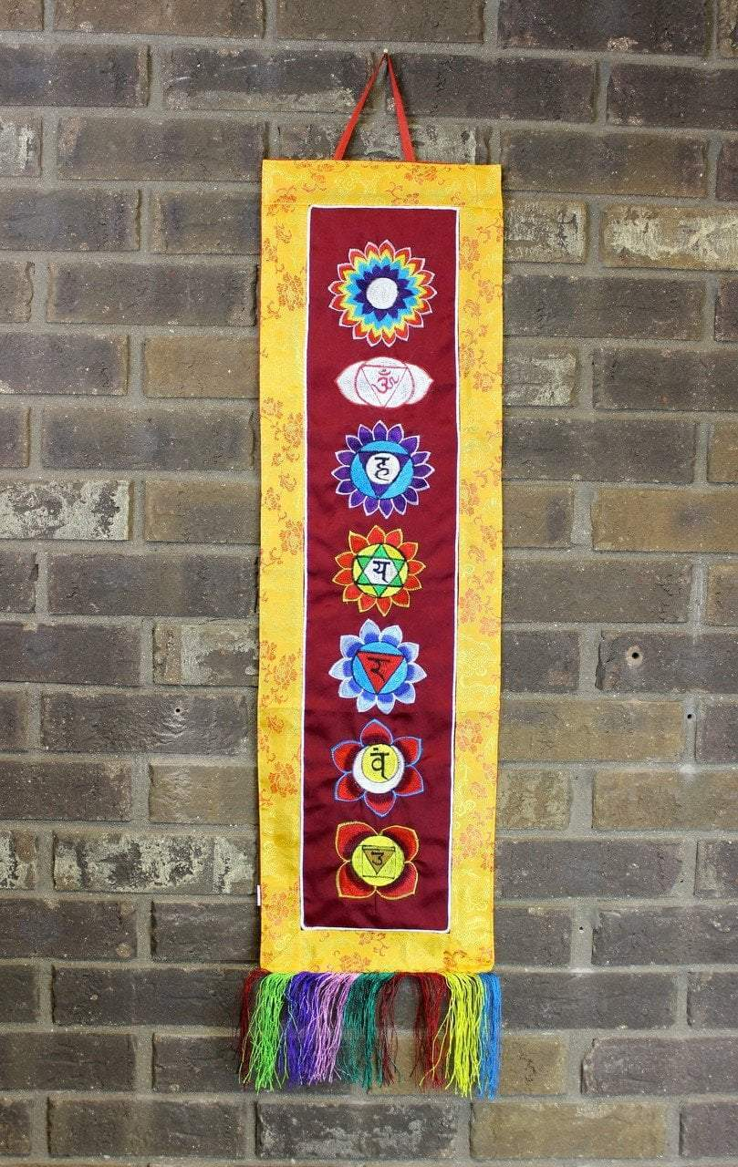Wall Hangings Default Seven Chakra Gold Embroidery Banner Hanging fb430