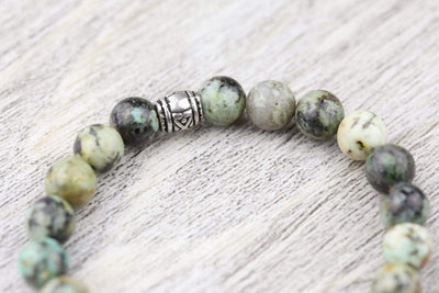 Wrist Malas Default African Turquoise and Sterling Elephant Wrist Mala wm204