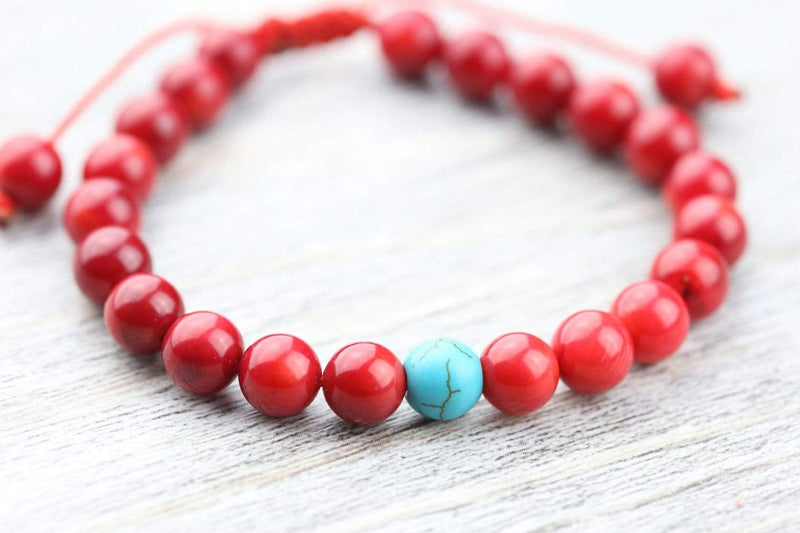Wrist Malas Default Coral Wrist Mala with Turquoise Spacer wm033