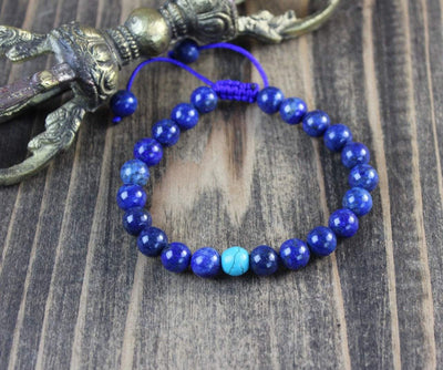 Wrist Malas Default Lapis Wrist Mala with Turquoise Spacer wm004