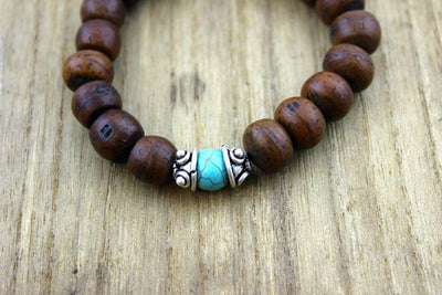 Wrist Malas Default Large Bodhi Seed and Turquoise Wrist Mala wm182