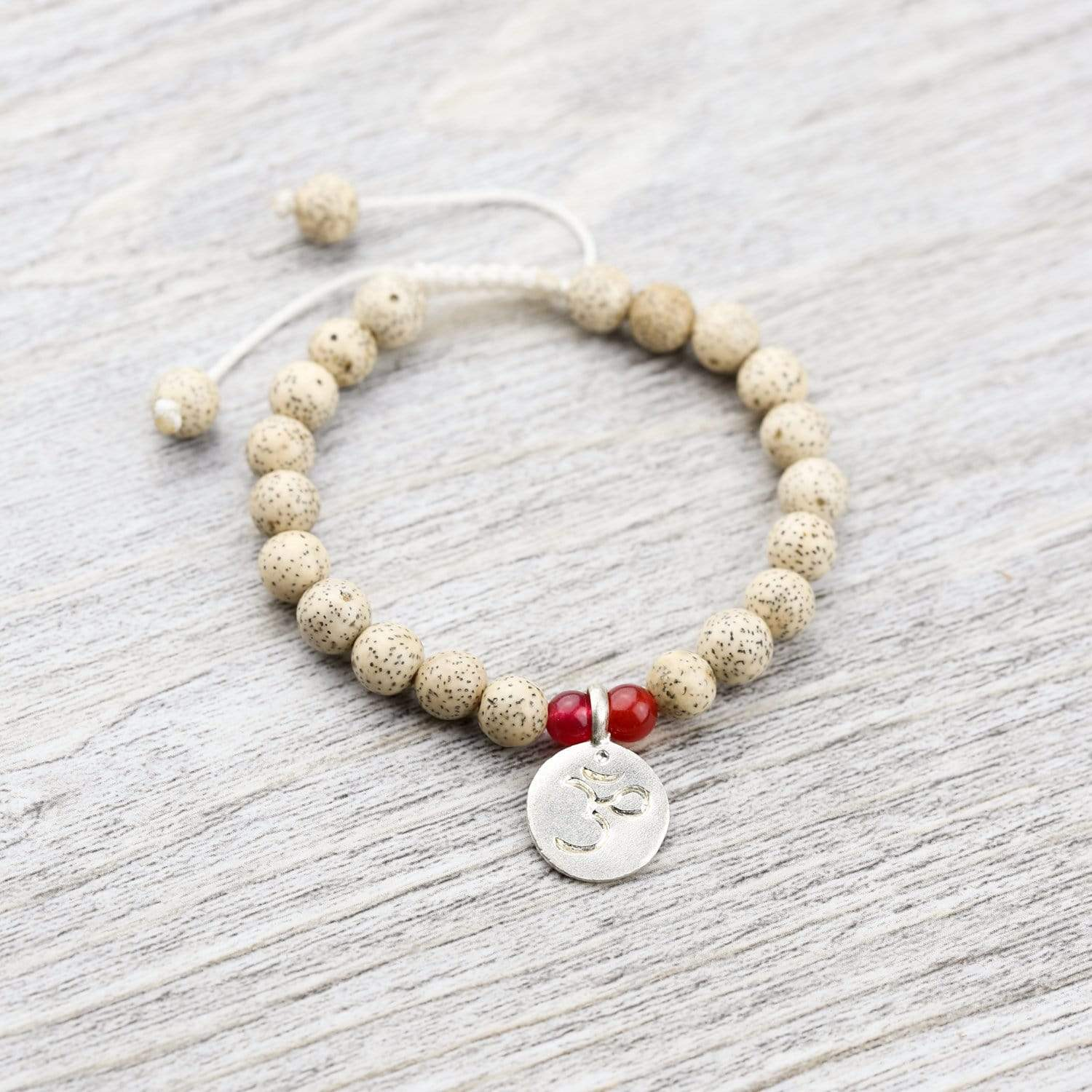 Wrist Malas Default Lotus Seed Wrist Mala With Om Charm wm081