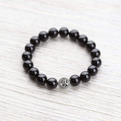 Wrist Malas Default Onyx and Sterling Om Wrist Mala wm257