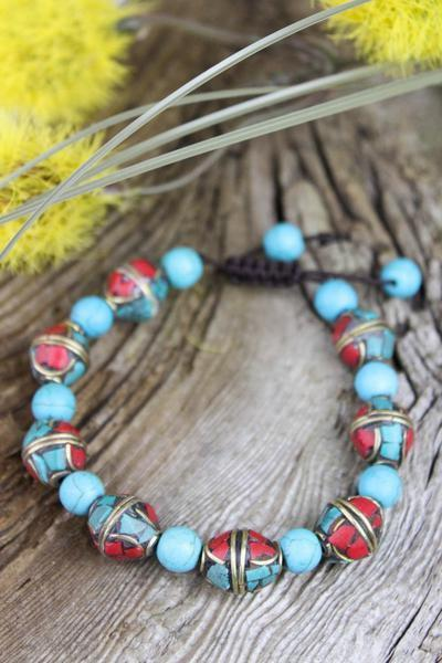 Wrist Malas Default Traditional Tibetan and Turquoise Bead Bracelet wm169